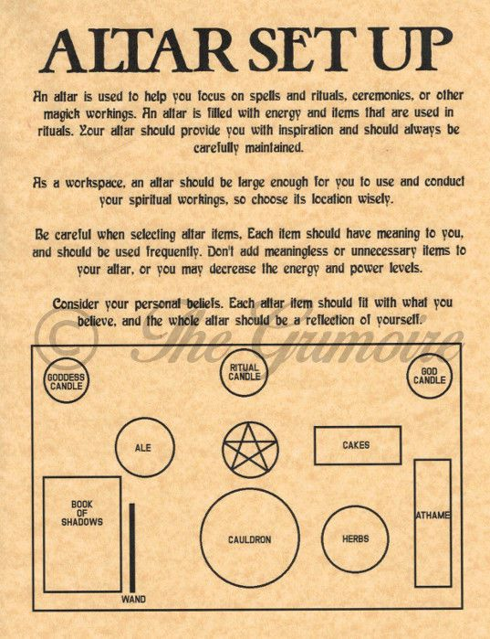 Altar Set Up Diagram & Tips, Book of Shadows Spell Page, Witchcraft, Wicca Altar FOR SALE • $1.95 • See Photos! Money Back Guarantee. Book of Shadows Page One of a kind Design by The Grimoire This beautifully designed Altar Set Up page shows a diagram of common altar tools and their proper places 282183779604