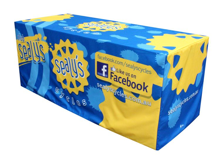 The contrast of blue and yellow is the perfect blend for this perfectly eye-catching printed table cover for Sealy Cycles printed by Star Outdoor. Get yours at www.staroutdoor.com.au