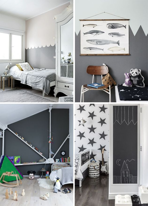 monochrome black and white kids room