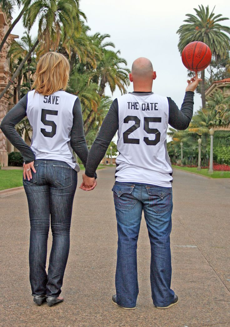 Sports-themed Wedding. Showing off the engagement ring. Wedding Save the Dates. Basketball Save the Dates.