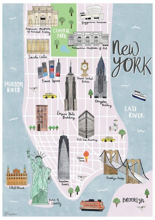 New York map illustrated print – Sarah Frances – #…