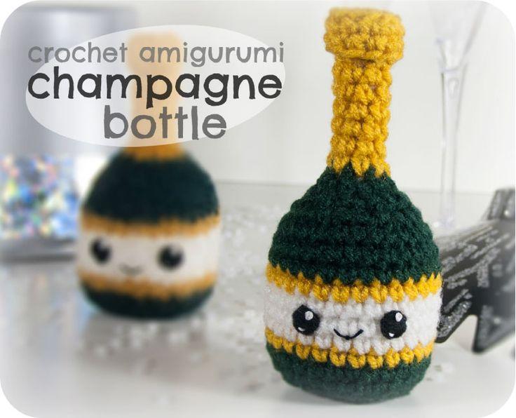 champagne bottle free crochet pattern by CraftyAlien Blog