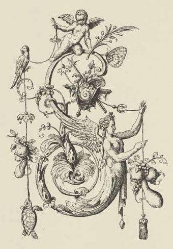 """""""S"""" - Johann Theodor de Bry, Neiw Kunstliches Alphabet, 1595."""