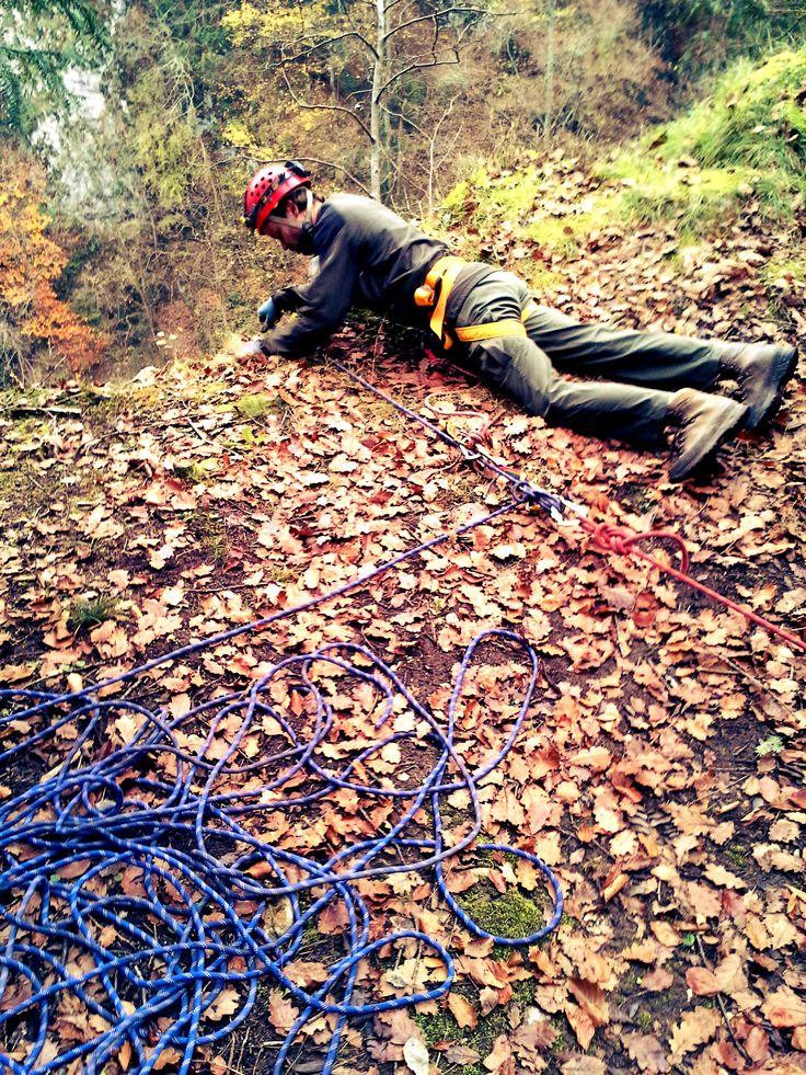 Součástí natáčení byl i lezec, kterému jsem asistoval :)