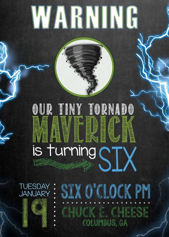 Tornado Storm Chaser Birthday Invitation Blue & Green