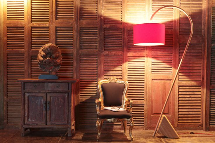 FLAMINGO floor lamp from Elmo's Collection 2015 (Designer: Giordano Caldarini, Hong Kong) Photographed with antique chair, antique mask piece, and antique cabinet from China Art (www.chinaart.hk)