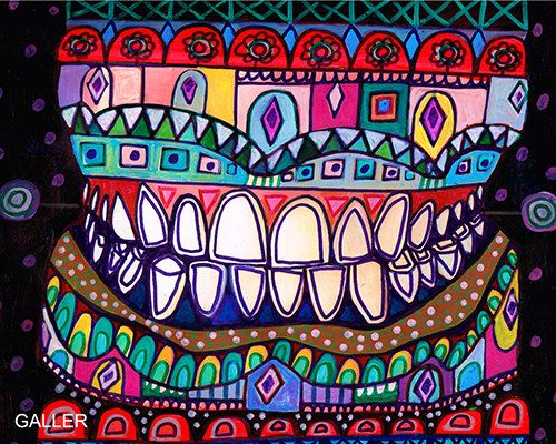 FREE SHIPPING- Teeth Original Painting by Heather Galler Abstract ...