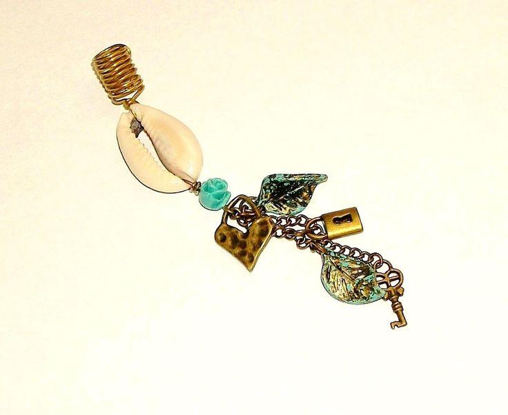 Dreadlock Jewelry - Antique Gold Heart-Lock and Key Loc Jewel by TumbleGems on Etsy