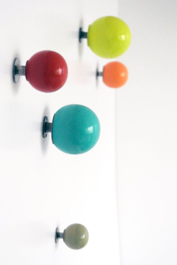 """MathildaC Colorful Knobs in red, turquoise, neon yellow & peach; wood knobs w/ metal hardware; 2.5""""d, 2""""d, 1.5""""d; $45/5 knobs"""