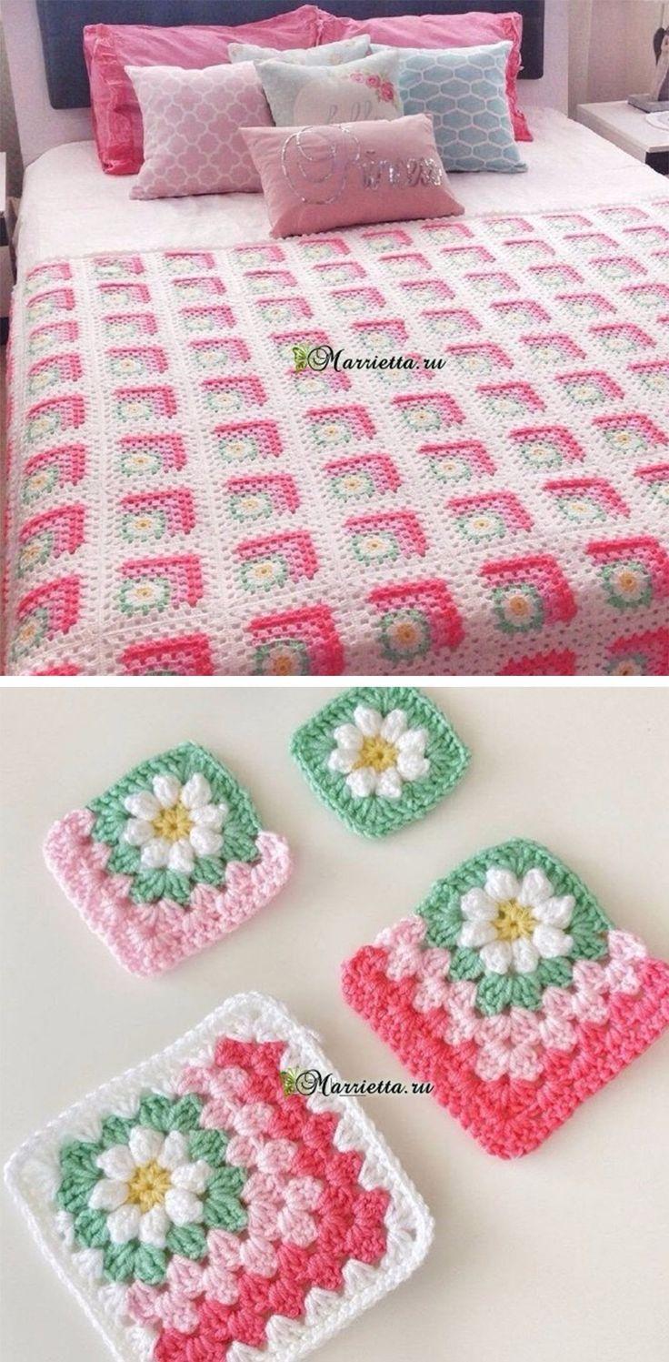 Flower Crochet Granny Blanket Pattern Tutorial