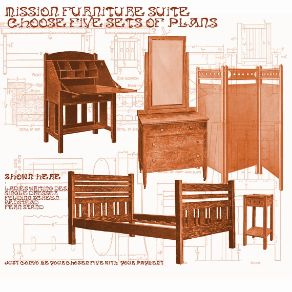 Woodworking Furniture Plans Mission Style by WoodworkingPlans4you, $14.95