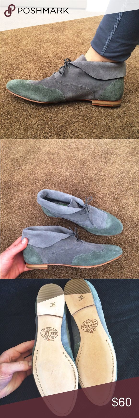 Wolverine 1000 Mile suede blue booties/oxfords 9B Like new condition. Size US 9B. I usually wear an 8.5 and these fit me perfectly. The color is to die for 😍 excellent quality shoes. Wolverine Shoes Ankle Boots & Booties