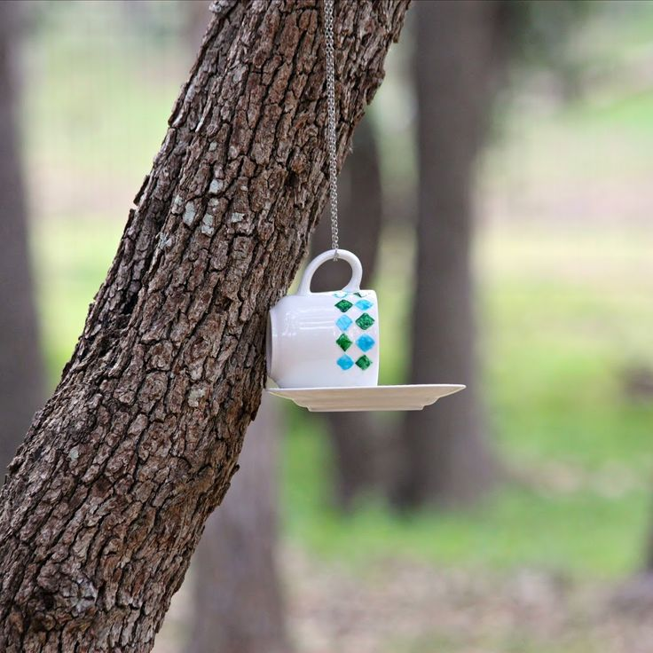 Make a Bird Feeder with Cups and Saucers from Goodwill - Morena's ...