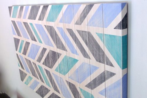my almost free scrap wood art, crafts, home decor, painting, pallet, Our almost free Herringbone Scrap Wood Wall Art