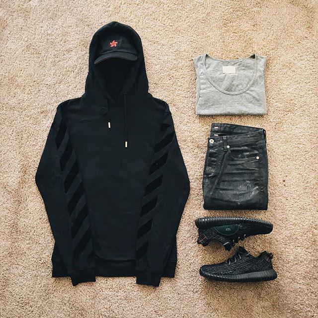 WEBSTA @ ldn2hk - Yar tis pirate time. #outfitgrid @outfitgrid @dennistodisco // Cap: #8five2shop // Hoodie: #offwhite #offwhitecovirgilabloh // Tank: #fog x #fearofgod  x #pacsun // Denim: #mrcompletely // Shoes: #adidasoriginals #yeezyboost350 #pirateblack