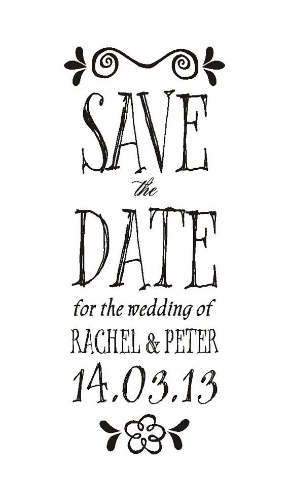 Whimsical Save the Date Stamp by theRUBBERpress on Etsy, $28.00