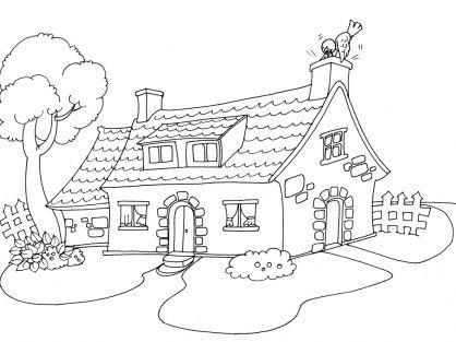 Coloriage maison 30 tipos de vivienda pinterest for Image de jardin a imprimer