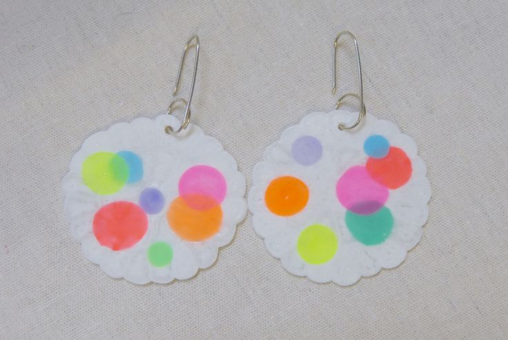 maker:  Peaches + Keen product:white spot colourific earrings material:plastic beads, sterling silver hooks handmade in Melbourne