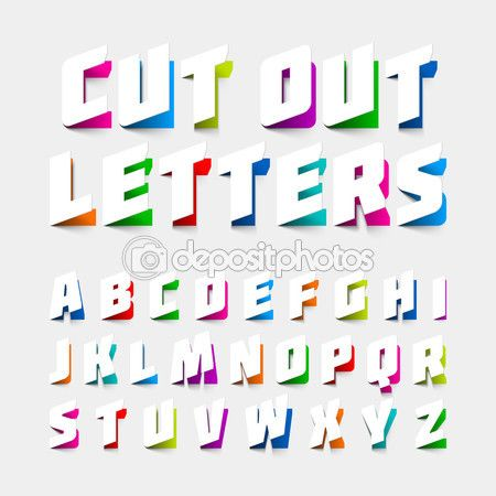 Буквы алфавита, вырезать из бумаги. Векторные иллюстрации
