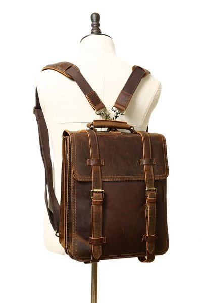Backpacks – VINTAGE BROWN RUSTIC LEATHER RUCKSACK BACKPACK, – a unique product by Jellybeangorilla on DaWanda