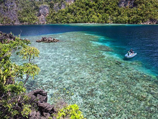 Любители подводного плавания часто посещают малонаселенные острова Раджа-Ампат, расположенные в Западном Папуа, Индонезия. ¾ видов кораллов находятся здесь, не говоря уже о джунглях, пляжах с белым песком, уединенных лагунах и волнующих пещерах.