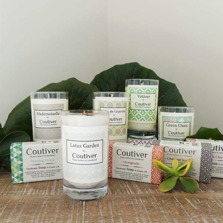 Coutiver Soaps & Candles Stunning fragrances encased in the best ingredients available. These ingredients are 100% organic. PETA certified, No palm oil, No animal fat. 100% Eco non- genetically modified (non-GMO) soy wax.