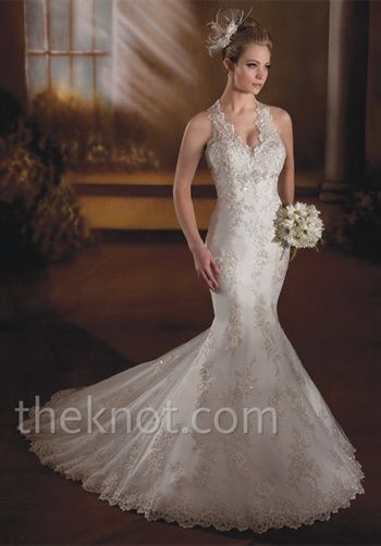 Sexy, but classy mermaid halter features beading, embroidery and zipper back. {Karelina Sposa C7872}
