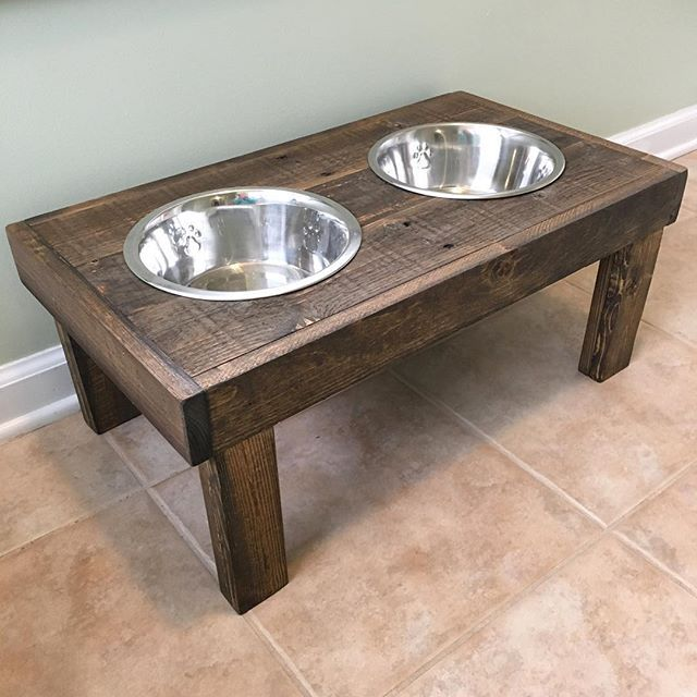 "Raised pallet wood dog bowl holders -10"" high. Stained Minwax Special Walnut #raiseddogbowl #raisedfeeder #dogbowl #diy #kregjig m #Minwax"