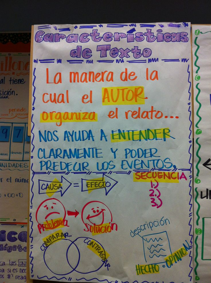 Carácteristicas del Texto/Text Structures Anchor Chart in Spanish #duallanguage #duallang #bilingualed