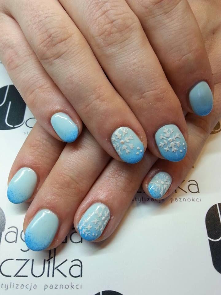 ombre, śnieżynki, nails, winter, inspiracje. Jagoda Uczułka stylizacja paznokci