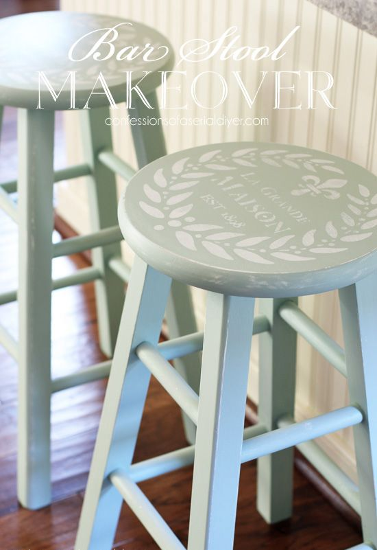 Barstools painted in Inglenook by Fusion Mineral Paint / confessionsofaserialdiyer.com