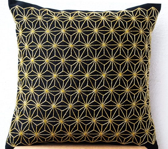 Black Silk throw pillow with Gold Embroidery Hemp by AmoreBeaute