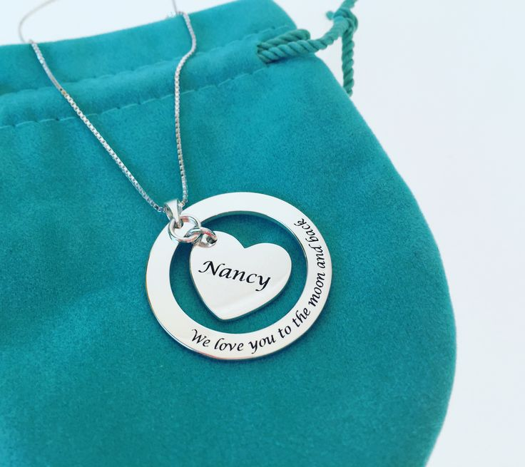 Sterling Silver Personalised Moon and Heart Necklace