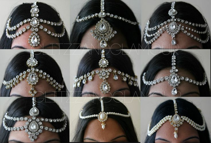 KUNDAN STONES HAIR CHAIN HEADPIECE HEAD JEWELLERY MATHA PATTI *SILVER OR GOLD*