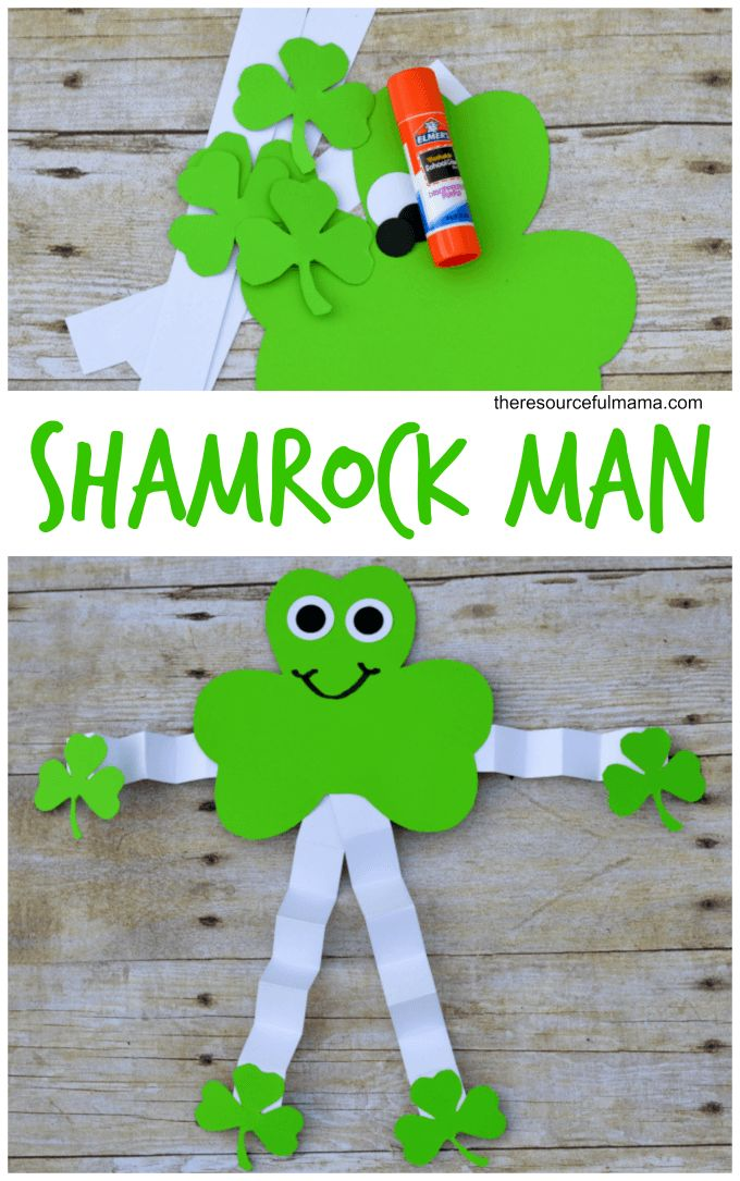 Superb St Patricks Day Crafts Part - 2: Shamrock Man Kid Craft For St. Patricku0027s Day