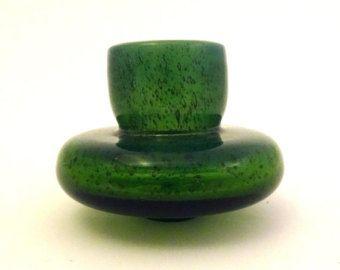 Zbigniew Horbowy 1980s 'antico' small UFO art glass vase  -- Polish art glass -- Poland