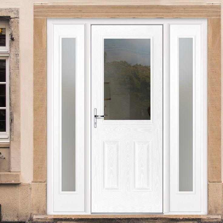 GRP White 2XG Glazed Composite Door with Two Sidelights. #externaldoor #frontdoor #entrance