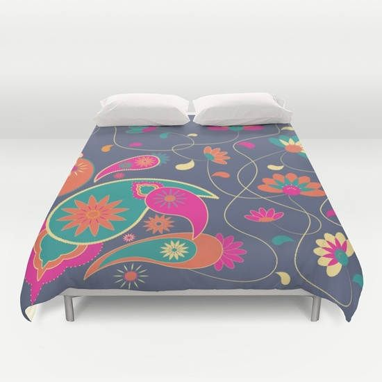 Oriental garden,Duvet cover,Bedding,Bedroom decor,Queen and King duvet cover,paisley boho duvet,geometric,red,brown,turquoise,floral bedding by OkopipiDesign on Etsy