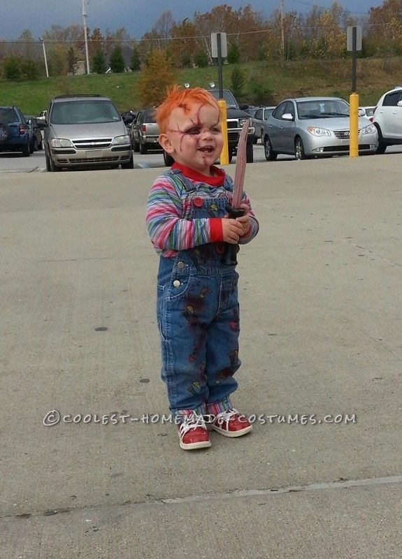 Chucky toddler costume the beginning when he was two for Homemade halloween costumes for 10 year olds