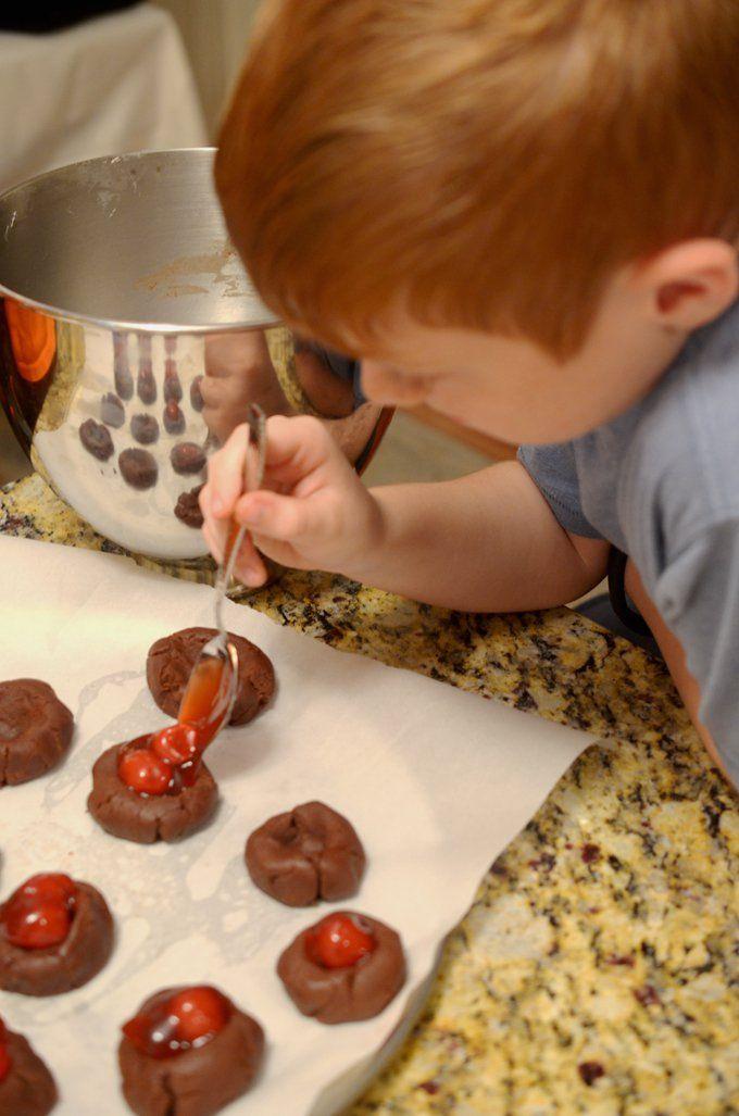 Cherry Chocolate Thumbprint Cookies