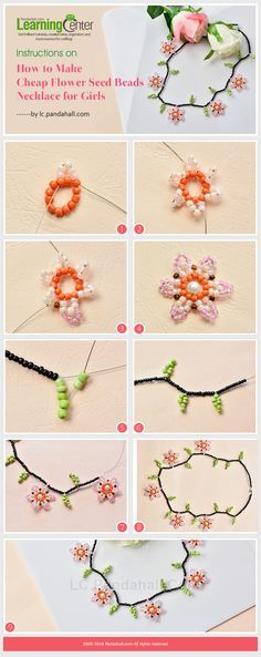 Instructions on How to Make Cheap Flower Seed Beads Necklace for Girls from LC.Pandahall.com #Seed #Bead #Tutorials