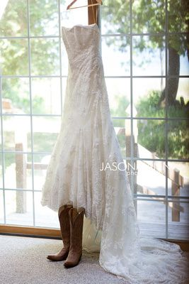 Strapless, lace wedding dress with brown cowboy boots. Rustic Door County wedding by http://www.JMannPhoto.com 920-246-8106