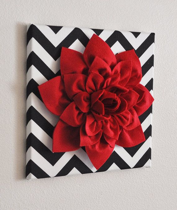 "TWO Red Wall Flower -Red Dahlia on Black and White Chevron 12 x12"" Canvas Wall Art- Baby Nursery Wall Decor-"