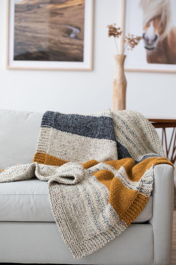 Strickpackung – Simple Striped Afghan   – Blanket Knitting Patterns