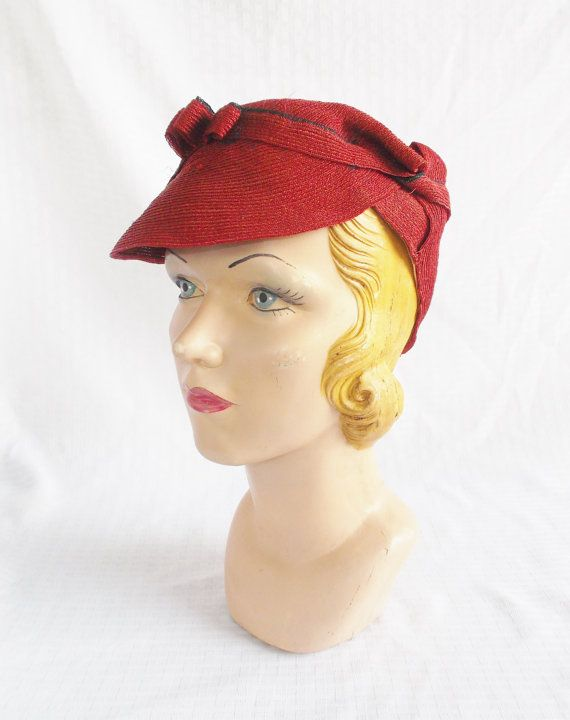1930's Vintage Unusual Red Hat with Bill