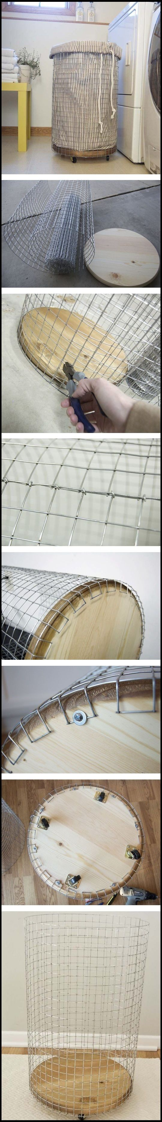Great Trash Can for the #CraftRoom ----- How To Make a French Vintage Inspired Wire Hamper