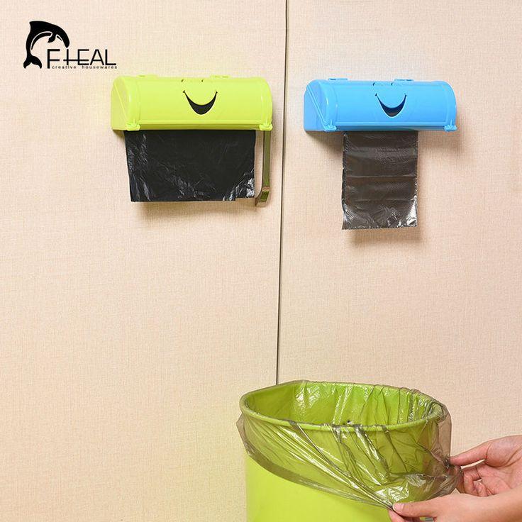 Fheal inicio ecológico cara de la sonrisa del color del caramelo caja de almacenamiento de bolsas de basura de cocina pasta tipo de recipiente de plástico