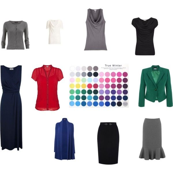"""""""True Winter Dramatic Classic - 10 pieces"""" by sm137 on Polyvore <-- I don't see most of these styles as DC, but it'a still a lovely theoretical capsule wardrobe for a TW."""