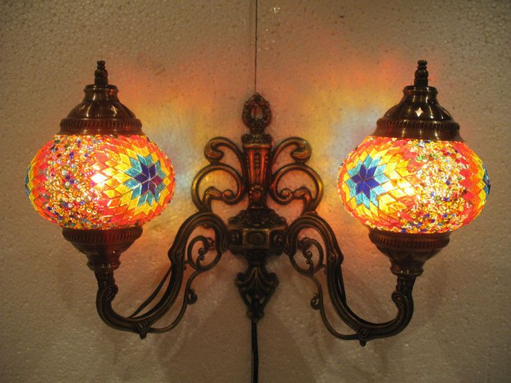 Mosaic Glass Candle Wall Sconces : Orange mosaic glass sconce lamp wall light lampe mosaique electric candle 10 #Handmade #Moroccan ...