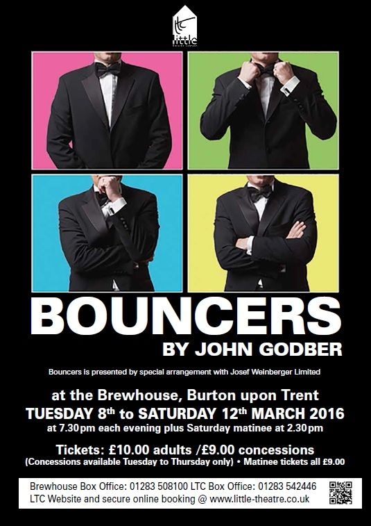 Bouncers by John Godber, being performed March 8-12, 2016 at the Brewhouse, Burton-on-Trent. More information about Little Theatre Company at http://www.little-theatre.co.uk
